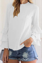 Load image into Gallery viewer, Round Neck  Plain  Bell Sleeve  Blouses