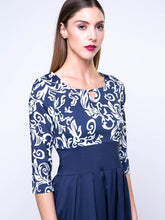 Load image into Gallery viewer, Round Neck Keyhole Printed Half Sleeve Empire Skater Dress