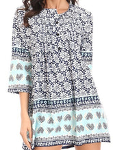 Load image into Gallery viewer, Crew Neck  Decorative Buttons   Floral Printed Loose Tunic Long Blouses