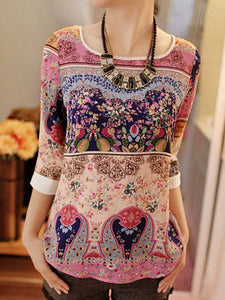 Round Neck  Abstract Print Long Sleeve Blouses