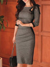 Load image into Gallery viewer, Tie Collar  Plain Bodycon Dress
