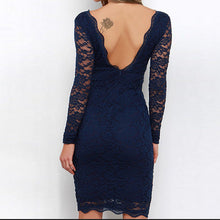 Load image into Gallery viewer, Long-Sleeved Sexy V Collar Lace Halter Bodycon Dress