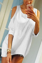 Load image into Gallery viewer, Open Shoulder  Asymmetric Hem Loose Fitting  Plain T-Shirts