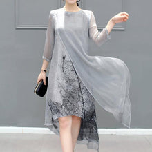 Load image into Gallery viewer, Gray Asymmetrical Printed Casual Shift Dress