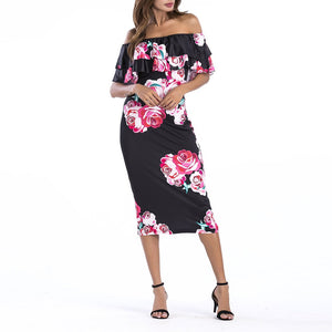 Lotus Leaf Strapless Collar Flower Printed Bodycon Dress