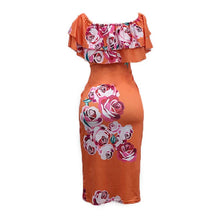 Load image into Gallery viewer, Lotus Leaf Strapless Collar Flower Printed Bodycon Dress