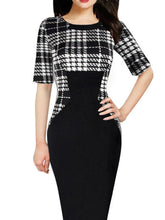 Load image into Gallery viewer, Round Neck  Plaid Bodycon Dress
