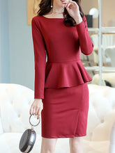 Load image into Gallery viewer, Round Neck  Fishtail Hem  Plain Bodycon Dresses