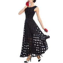 Load image into Gallery viewer, Black Plaid Sleeveless Tank A-Line Party Bohemian Long Dress