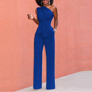 Elegant Sleeveless Pure Color Jumpsuits Romper