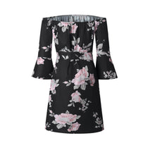 Load image into Gallery viewer, Printing Flower Off Shoulder Casual  Dress
