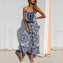 Load image into Gallery viewer, Fashion Printing Flower Strapless Jumpsuit