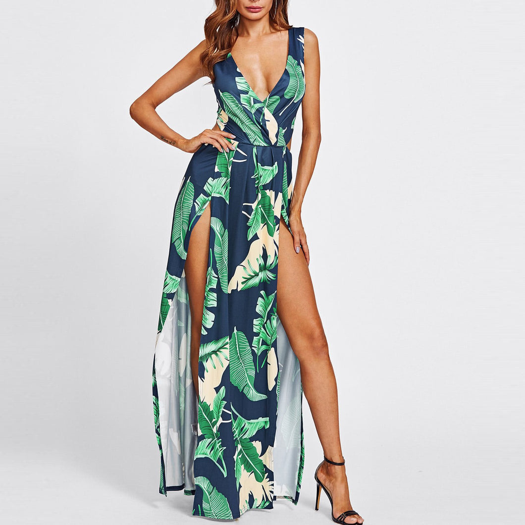 Sexy Hollow Printing Flower Slit Dress