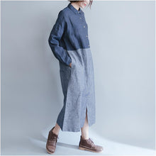 Load image into Gallery viewer, Casual Loose Denim Stitching Long Sleeve Dress