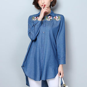 Loose Plain Embroidery Sleeves Denim Shirt
