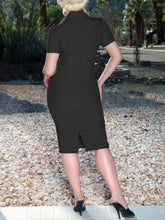Load image into Gallery viewer, Fold-Over Collar  Double Breasted  Plain Bodycon Dress