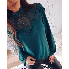 Load image into Gallery viewer, Sexy Lace Hollow Sleeves Chiffon Shirt