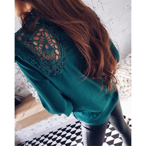 Sexy Lace Hollow Sleeves Chiffon Shirt
