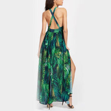 Load image into Gallery viewer, Bohemia Printing Split Halter Strap Beach Dress Vacation