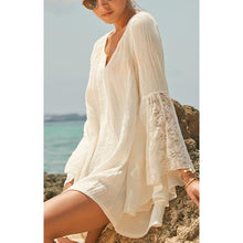 Load image into Gallery viewer, Bohemia Loose Plain V Collar Speaker Sleeve Beach Vacation Dress