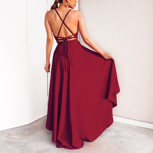 Sexy V Collar Solid Color Irregular Sling Evening Dress