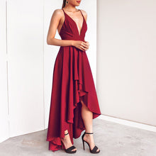 Load image into Gallery viewer, Sexy V Collar Solid Color Irregular Sling Evening Dress