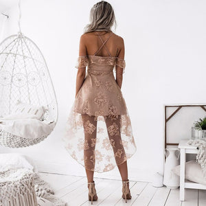 Sexy Lace Net Yarn Stitching Sling Lotus Leaf Princess Dress