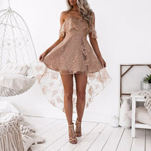 Load image into Gallery viewer, Sexy Lace Net Yarn Stitching Sling Lotus Leaf Princess Dress