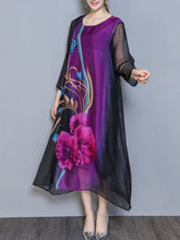 Load image into Gallery viewer, Round Neck  Printed Maxi Dress