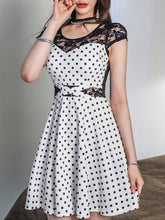 Load image into Gallery viewer, Sexy See-Through Polka Dot Round Neck Skater Dress