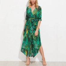 Load image into Gallery viewer, Bohemian Deep V Collar Printing Split Beach Vacation Dress