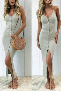 Spaghetti Strap  Single Breasted Slit  Plain  Sleeveless Maxi Dresses