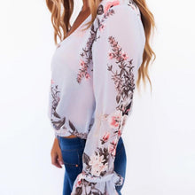 Load image into Gallery viewer, Sweet Floral Cross V-Neck Long-Sleeved Chiffon