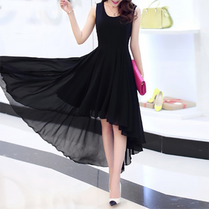 Elegant Pure Color Chiffon Skater Dress