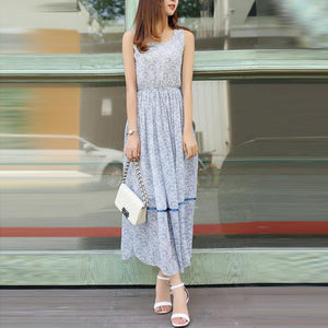 Bohemian Round Collar Printing Sleeveless Vacation Dress