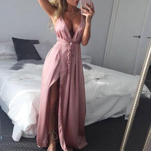 Load image into Gallery viewer, Deep V Neck  Asymmetric Hem Cross Straps  Belt Loops  Plain  Sleeveless Maxi Dresses