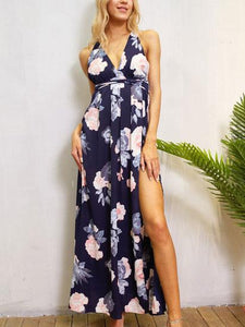 Sexy Deep V Neck Backless Floral Maxi Dress