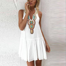 Load image into Gallery viewer, V Neck  Single Breasted  Printed  Sleeveless Casual Dresses