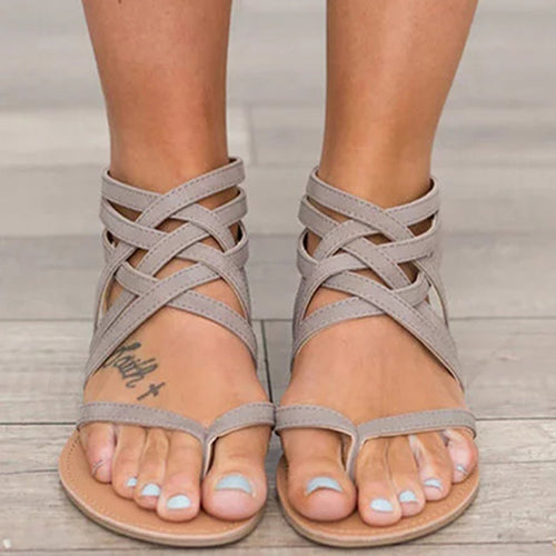 Zipper Casual Flat Heel Sandals Woman Shoes