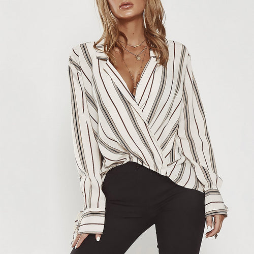 Sexy V Neck Stripe Printed Irregular Loose Blouse