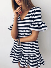 Load image into Gallery viewer, Casual V-Neck Ruffled Striped Mini Dress