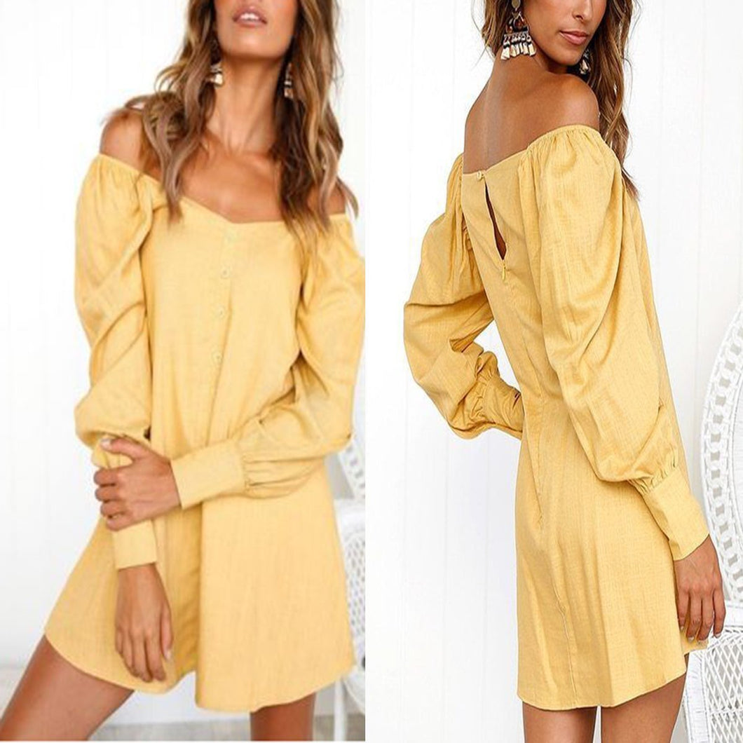 Sexy Off Shoulder Long Sleeve Mini Dress