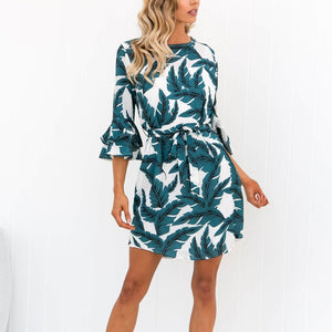 Fashion Jewel Neck Floral Print Mini Dress