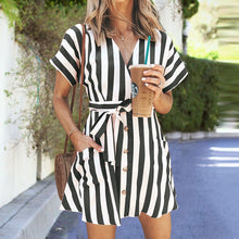 Load image into Gallery viewer, Fashion Stripe Short Sleeve Mini Casual Dress