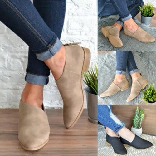 Plain  Flat  Point Toe  Outdoor Comfort Flats