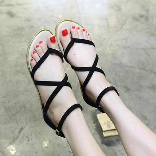 One-Button Buckle Toe Hollow Sandals