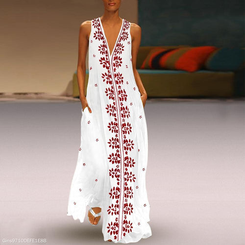 Dark V-Neck Cotton/Linen Printed Maxi Dress