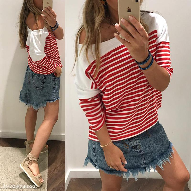 Round Neck Long Batwing Sleeve Stripes Patchwork T-Shirts