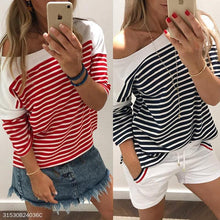 Load image into Gallery viewer, Round Neck Long Batwing Sleeve Stripes Patchwork T-Shirts