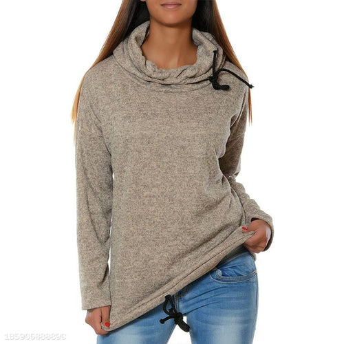 Hooded Long Sleeve Lace Up Plain Casual Hoodies